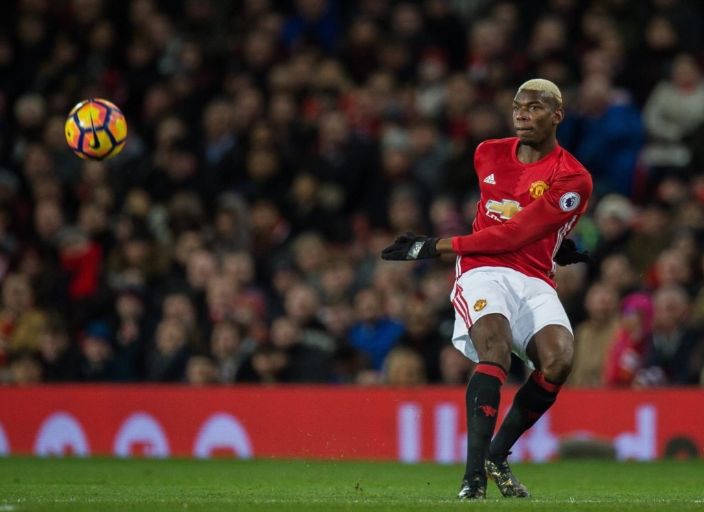 epa05765673 Manchester United's Paul Pogba in action during the English Premier League soccer match between Manchester United and Hull City held at Old Trafford, Liverpool, Britain, 01 February 2017. EPA/PETER POWELL EDITORIAL USE ONLY. No use with unauthorized audio, video, data, fixture lists, club/league logos or 'live' services. Online in-match use limited to 75 images, no video emulation. No use in betting, games or single club/league/player publications / Manchester United FC v Hull City FC / EPA / PETER POWELL / epa05765673 / BRITAIN SOCCER ENGLISH PREMIER LEAGUE / SOCCER / . / Manchester / EDITORIAL USE ONLY. No use with unauthorized audio, video, data, fixture lists, club/league logos or 'live' services. Online in-match use limited to 75 images, no video emulation. No use in betting, games or single club/league/player publications / Old Trafford